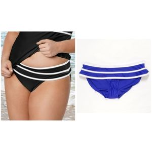 Venus Blue White Striped Ruffle Bikini Bottoms